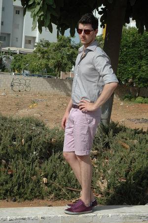 purple Zara shoes - pink Bershka shorts - purple Zara belt - brown Zara shirt -