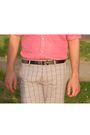 Black-zara-belt-red-zara-shirt-gray-h-m-shorts-green-castro-shoes