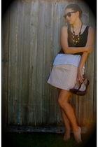 black rayban sunglasses - black H&M necklace - white Forever 21 - pink Loft skir