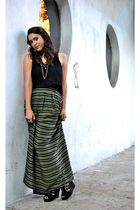 black modcloth top - green H&M skirt - black Steve Madden shoes