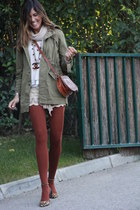 tights - scarf - bag - shorts - flats
