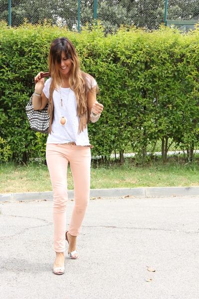 hippie Zara t-shirt - hippie Stradivarius vest - formal Zara heels