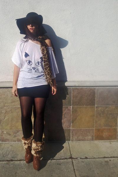 black floppy hat World Market hat - brown leopard unknown scarf