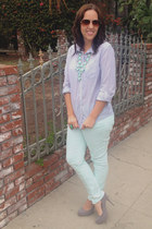 aquamarine skinny jeans Mossimo jeans - periwinkle button down Forever 21 shirt