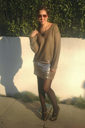 army green RDI sweater - bronze gold sequin Lily White skirt