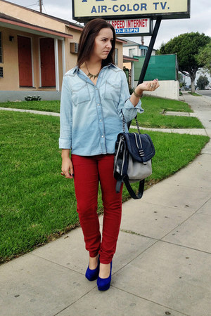 brick red skinnies Denim Blvd jeans - periwinkle button down Mudd shirt