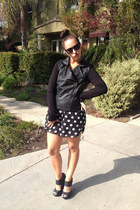leather Forever 21 jacket - polka dot Walmart dress