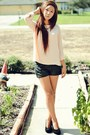 Leather-shorts-suede-urban-outfitters-wedges-urban-outfitters-top