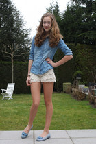 beige lace Oasapcom shorts - sky blue denim H&M blouse
