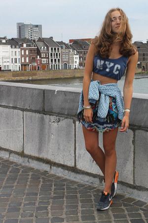 sky blue bomber Zara jacket - navy cropped Jennifer top - navy Zara skirt