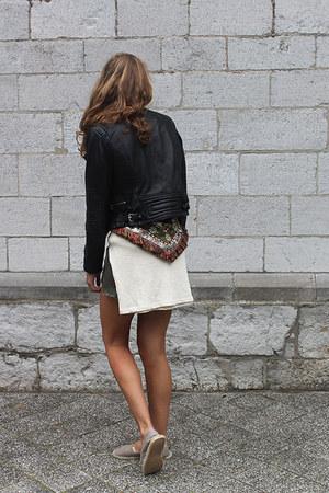 black leather Goosecraft jacket - ivory Zara sweater