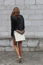 black leather Goosecraft jacket - ivory Zara sweater