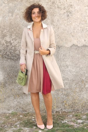 pink zalando dress - eggshell trench coat zalando coat - chartreuse vintage bag