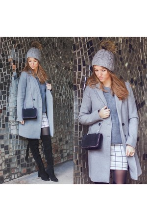 grey Zara coat - checkered reserved skirt