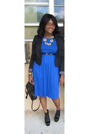 Jeffrey Campbell inspired boots - Forever 21 dress - blazer - bag