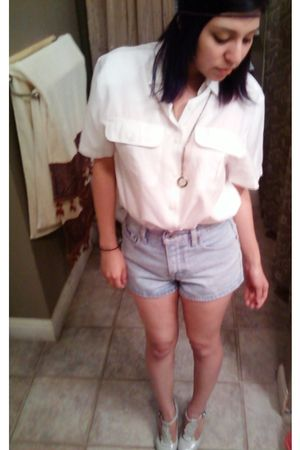 white vintage shirt - blue vintage shorts - silver Steve Madden shoes - gold Tar