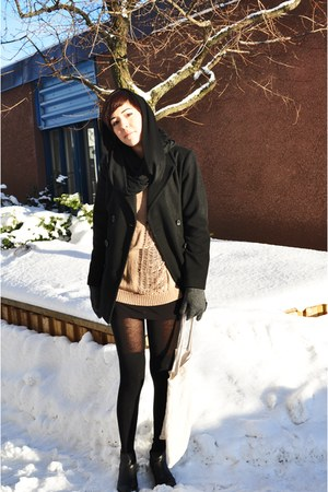 neutral Cheap Monday sweater - black banana republic coat - black H&M dress - bl