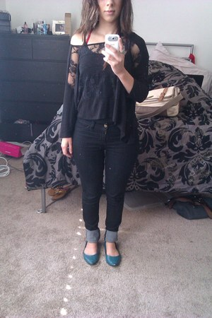 black black H&M jeans - black lace top Urban Outfitters top