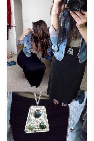 teal denim jacket - black maxi Target skirt - olive green NORSTROM necklace