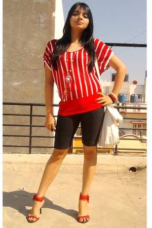 red shoes - black pants - red soft knit top