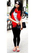 silver lace dress dress - red pashmina shawl scarf - black ITS bag - red rockste