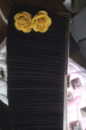 satin pleated satinpleatedblack bag - felt flowers bag - corsage bag - chic have