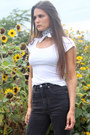 High-waisted-nachobarbievintage-jeans-basic-white-h-m-t-shirt