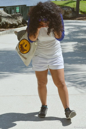 white Forever 21 shorts - navy Forever 21 shirt - off white gifted bag