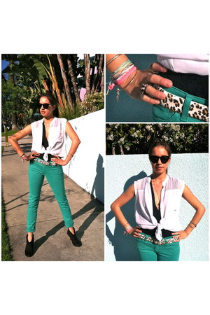 aquamarine AG Jeans jeans - black House of Harlow 1960 sunglasses
