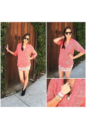 coral sass & bide sweater - salmon IRO dress