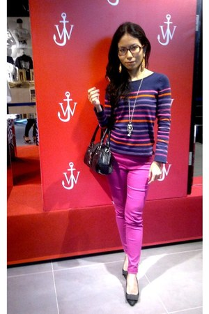 stripey H&M jumper - Mango bag - pants - diva earrings