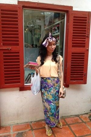 floral print skirt - light purple silk scarf - chartreuse sandals