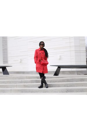 red unknown coat - black Hunter boots - red unknown brand purse