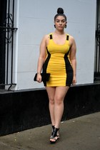 yellow dress - black heels