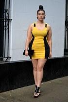 yellow dress - black heels