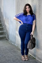 blue fashion to figure blouse - navy American Apparel jeans