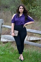 deep purple fashion to figure blouse - black pants
