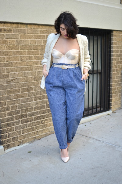 blue pants - ivory bra