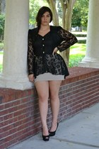 black blouse - beige skirt - black heels