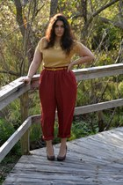 mustard blouse - maroon pants - dark brown heels