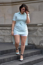 aquamarine vintage dress - aquamarine H&M heels - bubble gum glasses