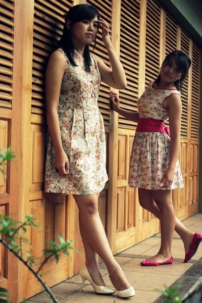 beige Natalie and Me dress - white Charles & Keith shoes - pink Natalie and Me d