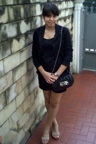 black Forever21 blazer - black random brand top - black arnessio shorts - beige