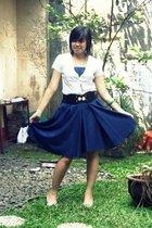 DIY skirt - vintage blouse - thrifted belt - vintage shoes