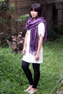 Black-nyla-jacket-purple-pashmina-scarf-white-magnolia-by-orange-dress-bla