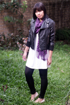 black NyLa jacket - purple Pashmina scarf - white Magnolia by Orange dress - bla