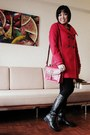 Black-thrifted-boots-black-dorothy-perkins-dress-red-zara-coat