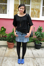Random-shirt-diy-skirt-random-tights-belle-shoes