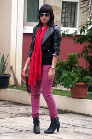 black random shirt - black NyLa jacket - purple Forever21 jeans - red rubi scarf