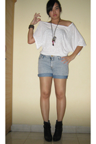 Forever 21 shirt - DIY shorts - Zara boots